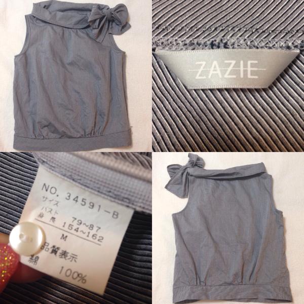 ZAZIE ☆ ザジー トップス ノースリーブ カットソー ブラウス 襟リボン