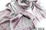 高級 絹 THAI SILK100% タイシルク 薄手 ツタ柄 ペイズリー 大判 ストール シルバー系 パープル 銀 スカーフ 冷房対策・日焼け対策