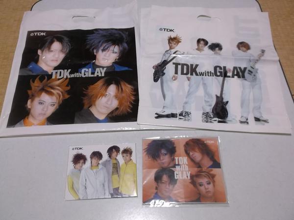 ▼ GLAY グレイ TDK 【 ステッカーシート + CDホルダー + ビニールバッグ3点 】