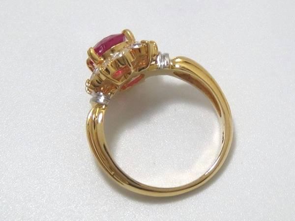 K18 Pt900 本物 大粒 ルビー ダイヤ リング 綺麗 美しい 指輪 装飾 宝飾 高級 上質 上品 色石 可愛い 上品 オシャレ パーティー_画像3
