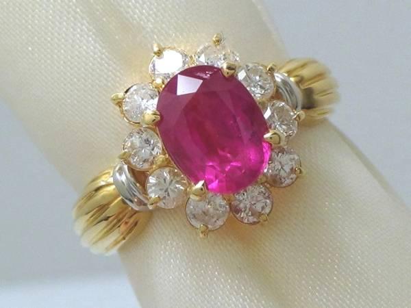 K18 Pt900 本物 大粒 ルビー ダイヤ リング 綺麗 美しい 指輪 装飾 宝飾 高級 上質 上品 色石 可愛い 上品 オシャレ パーティー_画像2