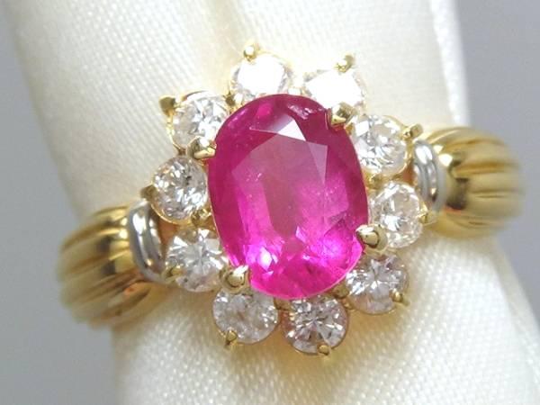 K18 Pt900 本物 大粒 ルビー ダイヤ リング 綺麗 美しい 指輪 装飾 宝飾 高級 上質 上品 色石 可愛い 上品 オシャレ パーティー_画像1
