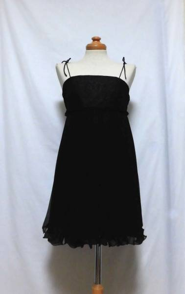 〔未使用 新品 日本製〕 rosebullet ローズブリット ブラック レース× シフォン プリーツ ワンピース ドレス 《 黒 ワンピ 送料無料! 》_レース×シフォンワンピースドレスです
