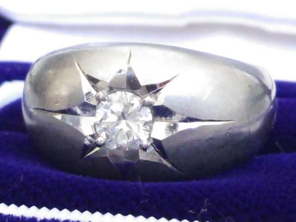 即決 豪華 ずっしり重厚感 極太 Pt900 大粒 ダイヤモンド 0.30ct かまぼこリング 14号 16g 指輪 プラチナ 高級リング 極美品 送料無料_画像1