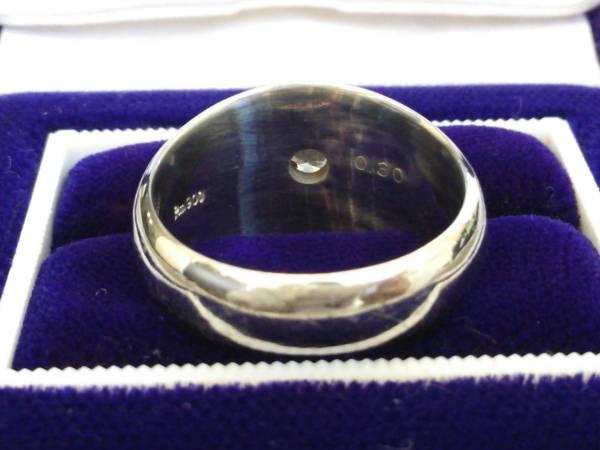 即決 豪華 ずっしり重厚感 極太 Pt900 大粒 ダイヤモンド 0.30ct かまぼこリング 14号 16g 指輪 プラチナ 高級リング 極美品 送料無料_画像3