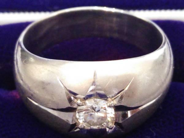 即決 豪華 ずっしり重厚感 極太 Pt900 大粒 ダイヤモンド 0.30ct かまぼこリング 14号 16g 指輪 プラチナ 高級リング 極美品 送料無料_画像2
