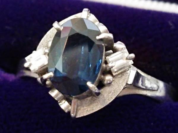 即決 送料無料 資産 極美品 Pt900 大粒サファイア 1.08ct ダイヤモンド 0.09ct 高級リング 指輪 5g 13号 プラチナ_画像1