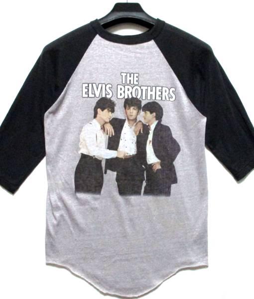 ヴィンテージ 80's THE ELVIS BROTHERS 1983 ラグラン Tシャツ L USA製 ロカビリー FIRE IN THE CITY stray cats hillbilly bops