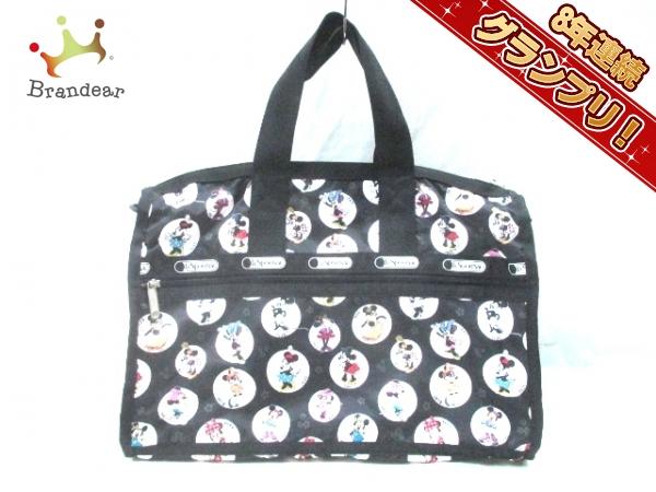 レスポートサック ボストンバッグ 美品 黒×白×マルチ Minnie Mouse レスポナイロン LESPORTSAC
