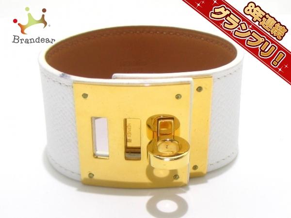 エルメス ブレスレット 美品 ケリードッグ ヴォーエプソン 白 ゴールド金具 HERMES