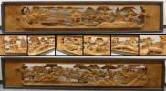 □壷□展示品 井波彫刻 細密木彫近江八景文 欄間一対 未使用品 厚み 約10cm