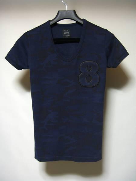 AKM × muta 8 cut ムータコラボ サイズM カットソー Vネック Tシャツ nagoya限定 カモ カモ柄 迷彩 ジュンハシモト 1piu1uguale3