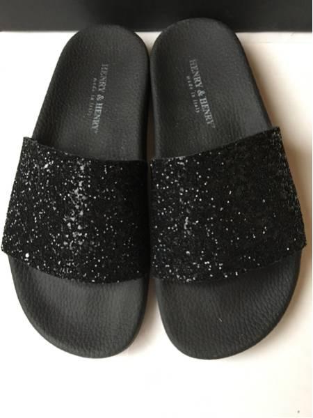 HENRY&HENRY ヘンリーヘンリー グリッターサンダル 35 36 22.5 23 ブラック イタリア製 かわいい 靴 チャオパニック_画像2