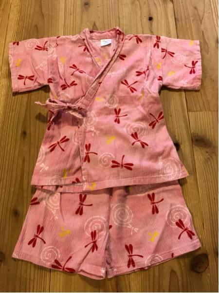 女の子用 ベビー服 子供服トンボ柄 甚平 浴衣 日本製 90㎝ ピンク お祭りなどに_画像1