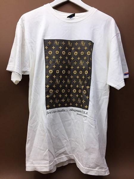 ライディングマニア モノグラム Tシャツ 白 ホワイト USA製MサイズF10