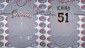 イチロー直筆サイン#51入2016年マーリンズ球団支給試合用「3000本安打達成同色」グレーユニフォーム MLB機構証明 グッズの画像