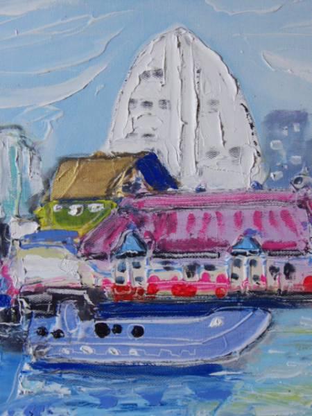 ≪国美協≫関口進、『横浜・船のある風景』、油彩画、F6号:40,9cm×31,8cm、油絵一点物、新品高級油彩額付、直筆サイン・真作保証付_高級油彩新品額付