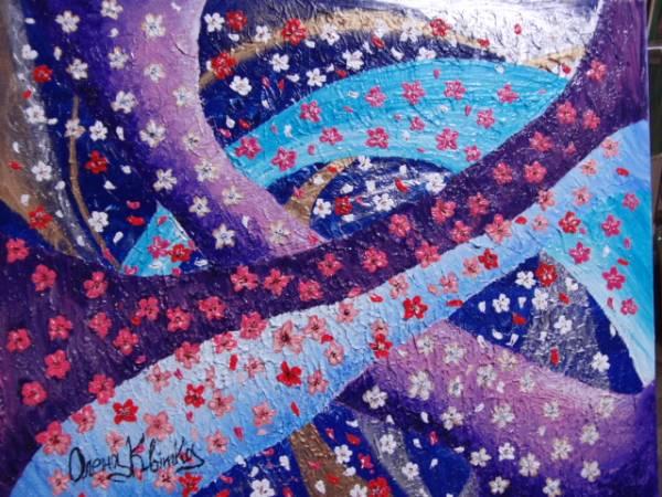 ≪国美協≫エレナ・クヴィッカ、『さくら』、油彩画、F15号:65,2×53,0cm、油絵、新品高級油彩額付、直筆サイン・真作保証付