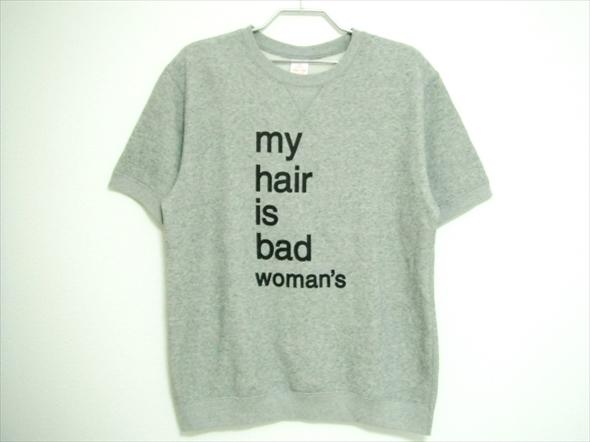 【J377】美品★My Hair is Bad マイヘアーイズバッド 半袖スウェットTシャツ Lサイズ グレー woman's ウーマンズ グッズ マイヘア
