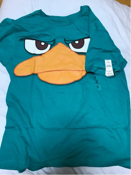 USAディズニーストア エージェントP ペリー Tシャツ 未使用タグ付 メンズL フィニアスとファーブ ハロウィン Dハロ 仮装 ディズニーグッズの画像