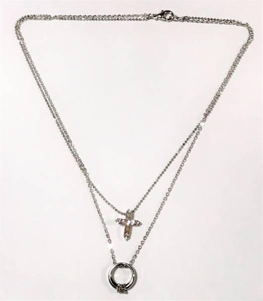 【美しいデザイン】ひと粒ダイヤリングとダイヤモンドクロスペンダントのプラチナコーティング2重チェーンネックレス_画像3