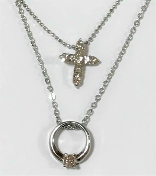 【美しいデザイン】ひと粒ダイヤリングとダイヤモンドクロスペンダントのプラチナコーティング2重チェーンネックレス_画像1