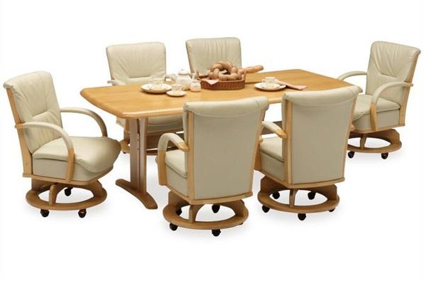 送料無料 肘掛け+キャスター+回転機能が付いた快適チェア。テーブルとボリュームタイプでハイバック仕様チェアの6人掛けセット