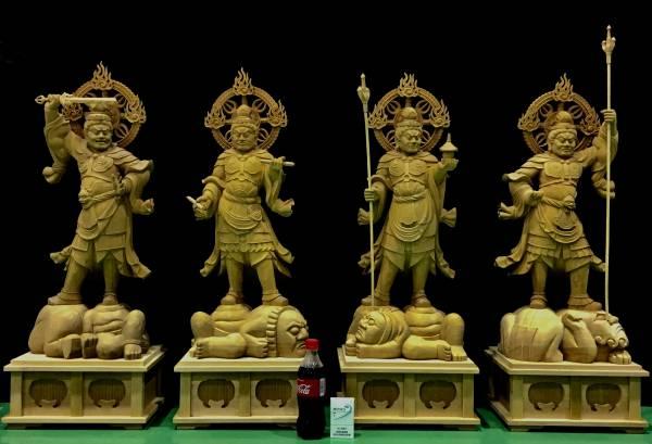 榧材 【カヤ】 仏教美術 特上彫り 大型 四天王像 超大迫力の総高 約93cm 最大105cm