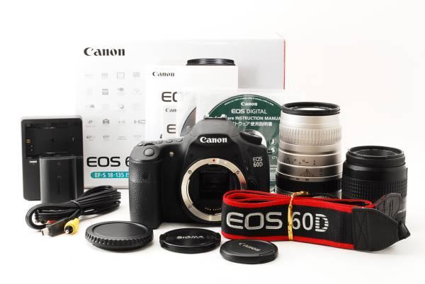 保証付 美品 付属品完備 キャノン 60D 一眼レフ カメラ Wレンズセット バッグ付 300mm 超望遠レンズ 旅行 夏休み 運動会 発表会