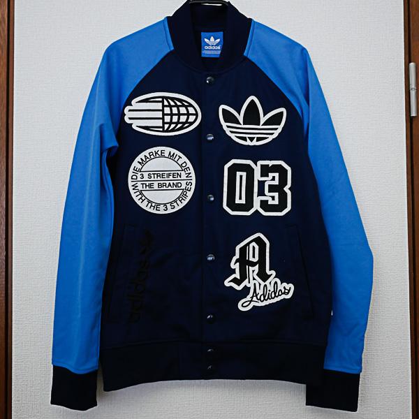 ■ adidas originals ■ スタジャン ジャージ ロゴワッペン 青×紺 ■ サイズS アディダスオリジナルス !!! 即決 & 送料込 !!!