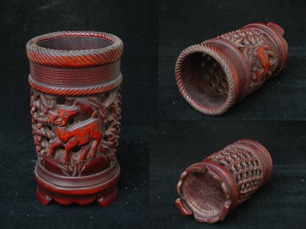 竹材 鏤空細彫 梅花鹿 彫刻 経年収蔵 老物 文房器 筆筒