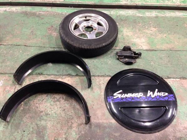 SUZUKI JA11V ジムニー スペアタイヤセット スペアタイヤカバー スペアタイヤブラケット アルミホイール