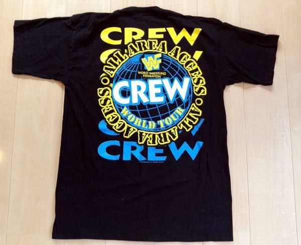 WWF 「WORLD TOUR CREW」 Tシャツ 90年代 ビンテージ XL 黒 World Wide Wrestling Federation WWE アメプロ グッズの画像