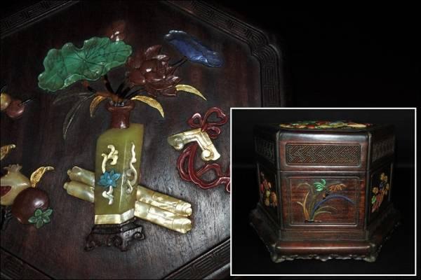 中国美術 唐物 紫檀唐木黄花梨 螺鈿玉石芝山象嵌蓋物 文房具