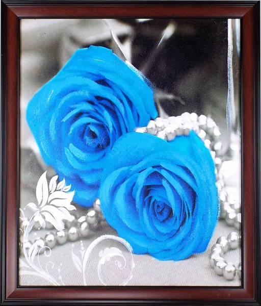 花絵油絵「青い薔薇」額装付 額寸約70 x 60cm /玄関、リービング、寝室飾り用絵画 / 店、新築、事務所、クリニックにも人気の油彩画