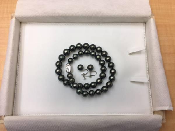 黒蝶真珠ネックレス 真珠総合研究所鑑定書有り イヤリング Pt900 美品