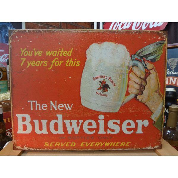 アメリカンブリキ看板 バドワイザー- The New- 【2019】sign_alcohol_サイズ:長辺41cm×短辺32cm(約)