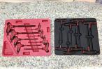 スナップオンとマックツールのT型ハンドルヘックスレンチセットsnap-onはインチのボールヘックスmacはミリの通常六角。赤と黒いハンドル