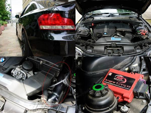 BMW 135i クーペ 7AT 平成22年 後期型iDrive ワイドHDDナビ 車検長い 平成30年4月迄 オリジナルマフラー_サブコン、強化チャージパイプ