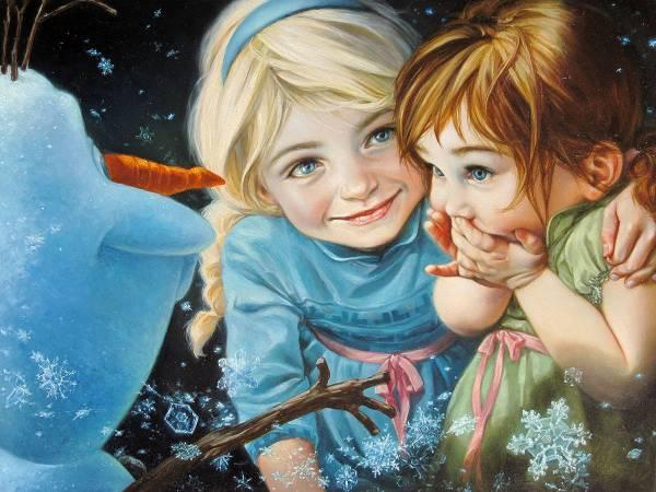 Disney Fine Art ディズニーファインアート アナと雪の女王 オラフ 限定 レア ディズニーグッズの画像