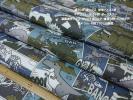 綿100オックス*Trefle*恐竜アメコミ柄ダークカラー系中間ソフト長4m オリジナルバッグ 雑貨小物 インテリアグッズ