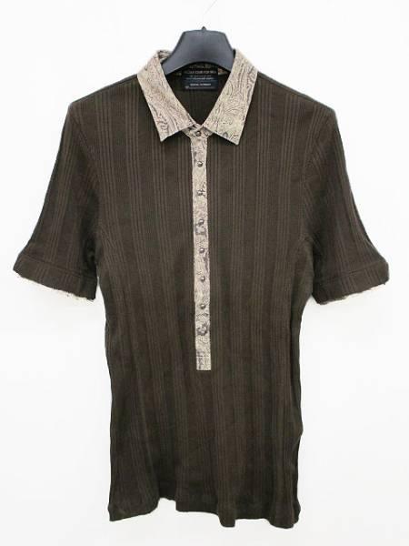 ニコルクラブフォーメン NICOLE CLUB FOR MEN カットソー ポロシャツ 切替 リブ編み ブラウン 半袖 461