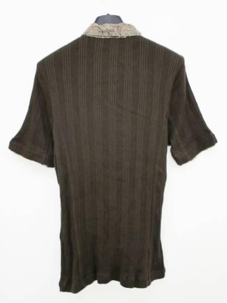 ニコルクラブフォーメン NICOLE CLUB FOR MEN カットソー ポロシャツ 切替 リブ編み ブラウン 半袖 462
