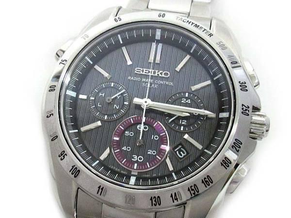 セイコー SEIKO ブライツ クロノグラフ ソーラー 電波 腕時計 SAGA051 ブラック 黒文字盤 メンズ