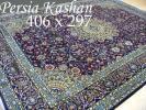 ペルシャ絨毯405x300 手織り 美術品 草木染  カーシャーン産B21