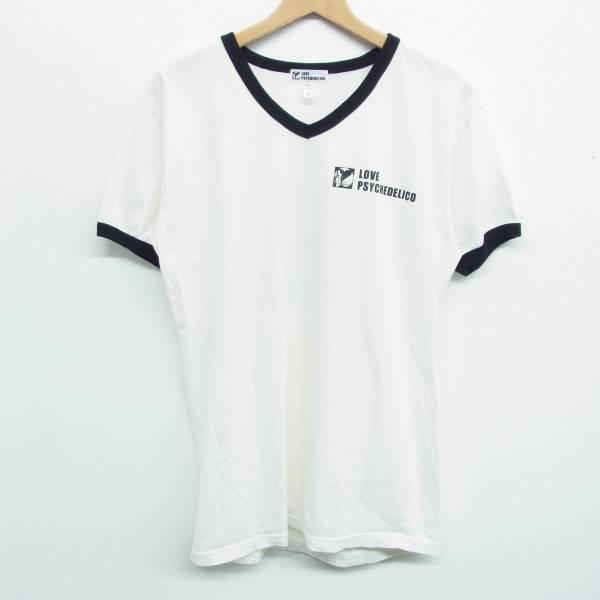 LOVE PSYCHEDELICO ラブサイケデリコ Tシャツ L リンガー Vネック ホワイト ブラック