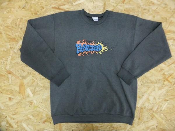 レア!Hi-STANDARD ハイスタンダード 初期 ファイヤーパターンロゴ USA刺繍ボディ スウェットトレーナー 灰 XL パンク・ロック ライブグッズの画像