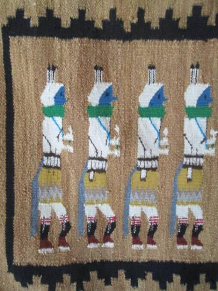 美品!本物 ナバホラグ Navajo Rug イェイ精霊ネイティブアメリカン/インディアンアリゾナ州チマヨ60's70'sカチナオルテガ古着_画像1