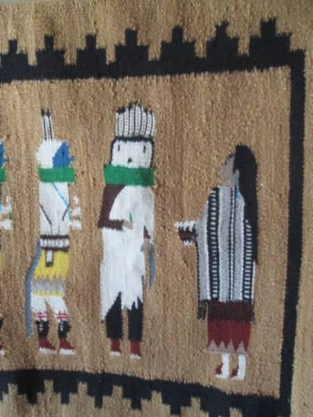 美品!本物 ナバホラグ Navajo Rug イェイ精霊ネイティブアメリカン/インディアンアリゾナ州チマヨ60's70'sカチナオルテガ古着_画像3