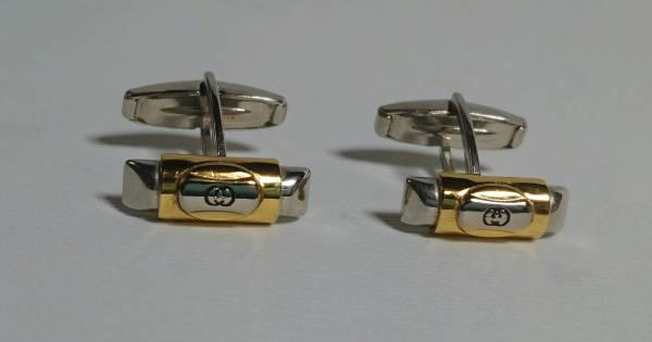 a6ff24349be6 正規美 グッチGUCCI ヴィンテージインターロッキング GGロゴカフス ゴールド×シルバー コンビカラー カフリンクス バンブー